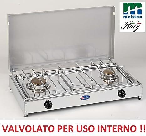 Hornillo de mesa Parker Gas Metano 2 Fuegos Con Válvulas seguridad para uso interno – pianale