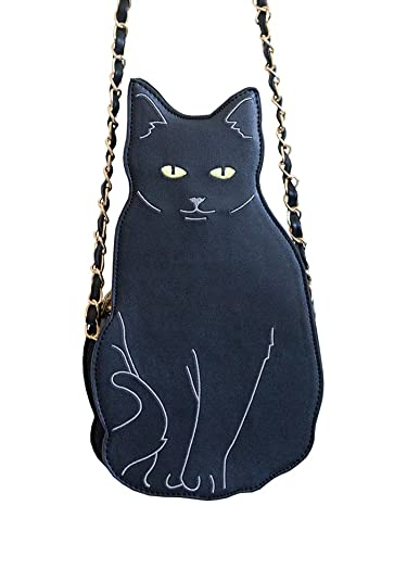 2897063293c Image Unavailable. Image not available for. Color: Manna Cross-body  Embroidered Black Cat Bag