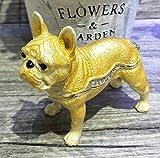 Animal Decor French Bulldog Trinket Box Bulldog Shape Hand Printed Metal Jewelry Wedding Ring Holder (Yellow)