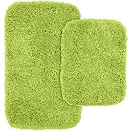 Garland Rug 2-Piece Jazz Shaggy Washable Nylon Bathroom Rug Set, Lime Green