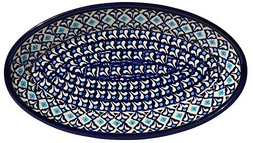 Polish Pottery Oval Serving Platter From Zaklady Ceramiczne Boleslawiec 1103-217a Classic Pattern, Dimensions: 11 Inch X 6.25 Inch ()