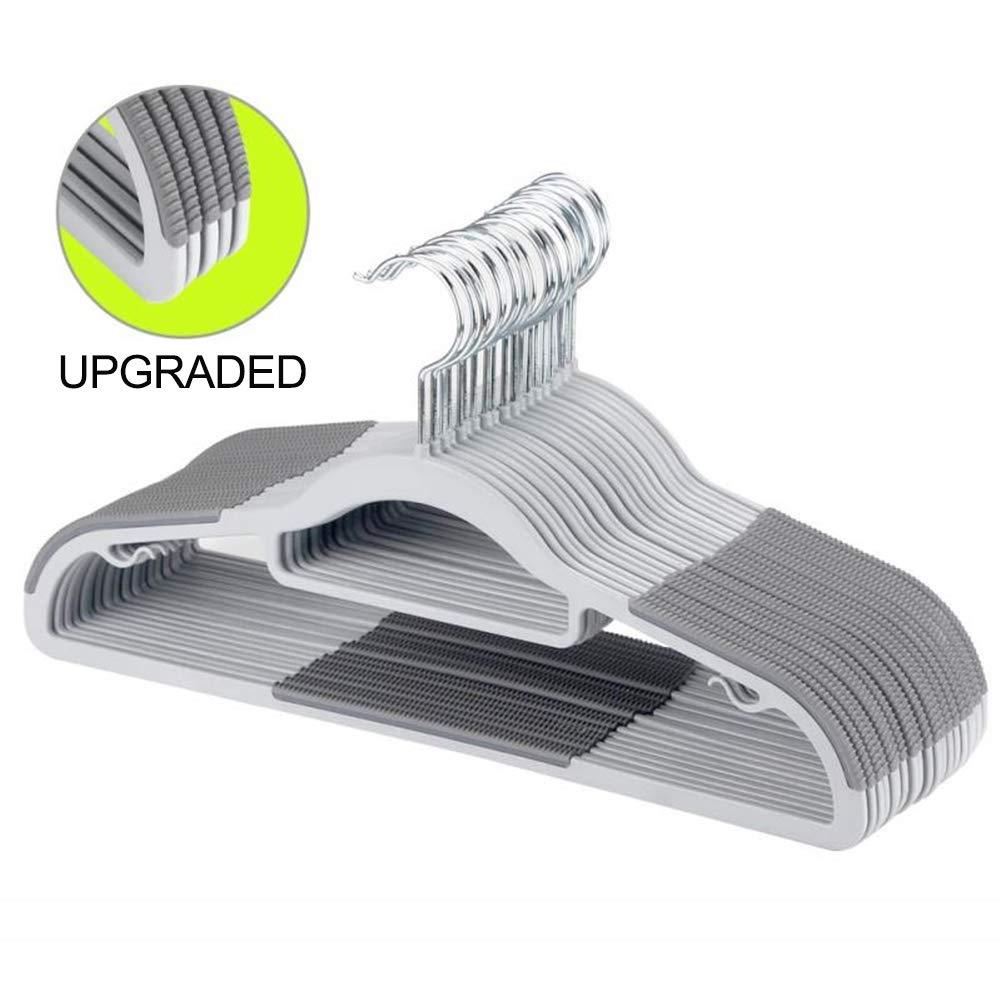 FSUTEG Hangers,Plastic Clothes Hangers, Upgraded Rubber Stripe Non-Slip Coat Hangers,50 Pack Dry Wet Trousers Pants Hangers,Space Saving,heavyduty Gray