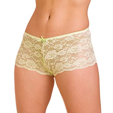 Camille Womens Ladies Underwear Lime Green Lace Bow French Boxer ...