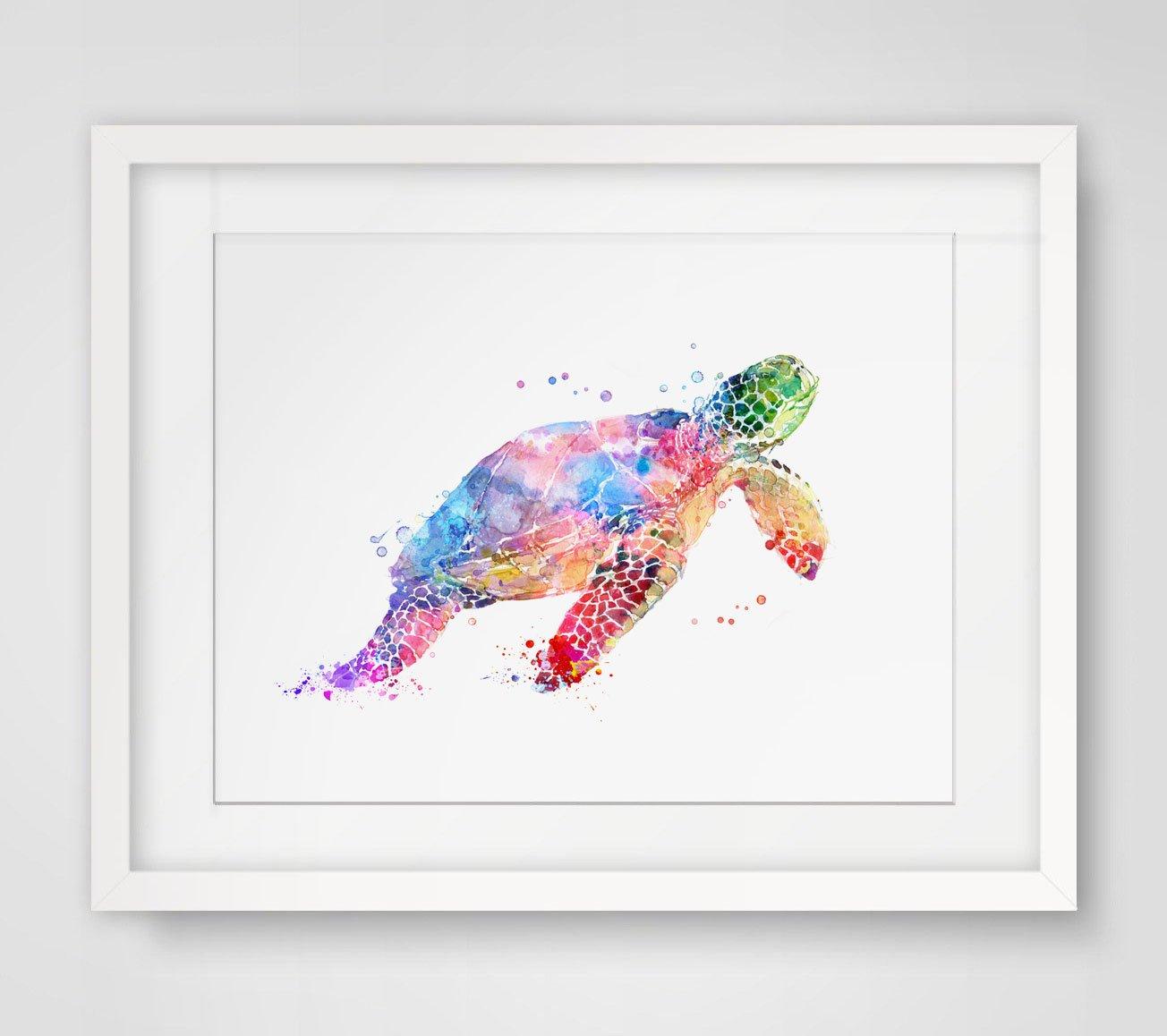 amazon com sea turtle watercolor art print wall art poster