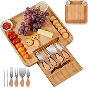 Bamboo Cheese Board Cheese Platter Set,Hidden Drawer for Cutlery, 2 Ceramic Bowels to Put Spreads In,Fancy House Warming Gift & Perfect Food Tray for Party,Dinner,Picnic