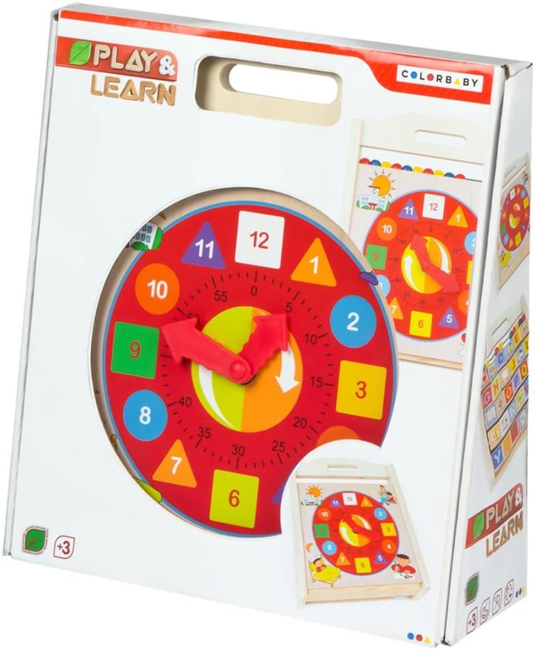 WOOMAX - Reloj, abecedario y ábaco madera 3 en 1 (ColorBaby 43632 ...