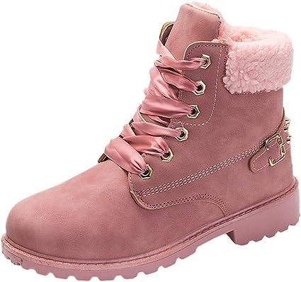 Fashion Femmes Lacets Doublure en fourrure revers hiver chaud bottes hautes chaussures
