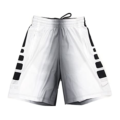 13c669eee916 Nike Mens Elite Stripe Plus Basketball Shorts Black Wolf Grey White  718375-010 Size X-Large