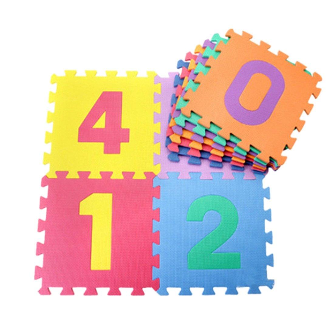 YUENA CARE 10PCS Alfombras Puzzles Infantiles Esteras de Juego de Espuma de Numeros o Letras Alfabeto Educativas Seguras para Bebé Niños Frutas