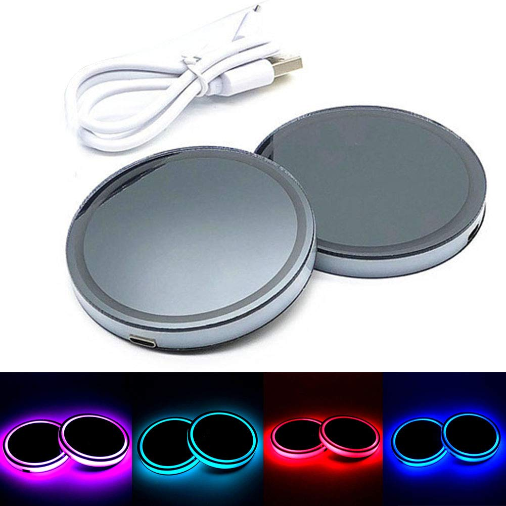 for Kitchen /& Dining Table White xxiaoTHAWxe Universal Led Car Logo Cup Lights up Holder USB Charging Waterproof Bottle Drinks pad 5 Colors Changing Atmosphere Lamp mat Cars for Luminous Coasters