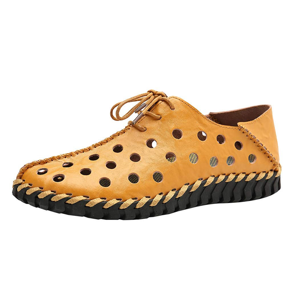 Mens Hollow Out Oxfords Shoes, Males Perforated Lace up Shoes Solid Modern Classic Flats Shoes