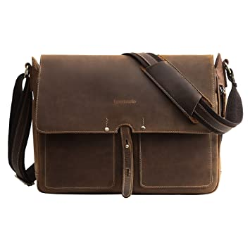 29804c107316 Amazon.com | Leathario Mens Leather Briefcase Crossbody Bag Leather  Computer Bag Messenger Bag Fit for 14