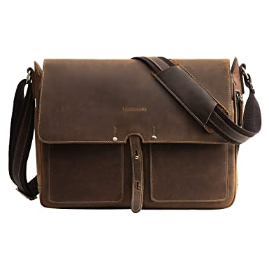 Leathario Mens Leather Briefcase Crossbody Bag Leather Computer Bag  Messenger Bag Fit for 14