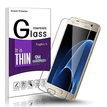 Vegkey Protector de pantalla Galaxy S7, Protector de pantalla de cristal templado Samsung Galaxy S7, Protector de película aplicado Anti-arañazos de Samsung ...
