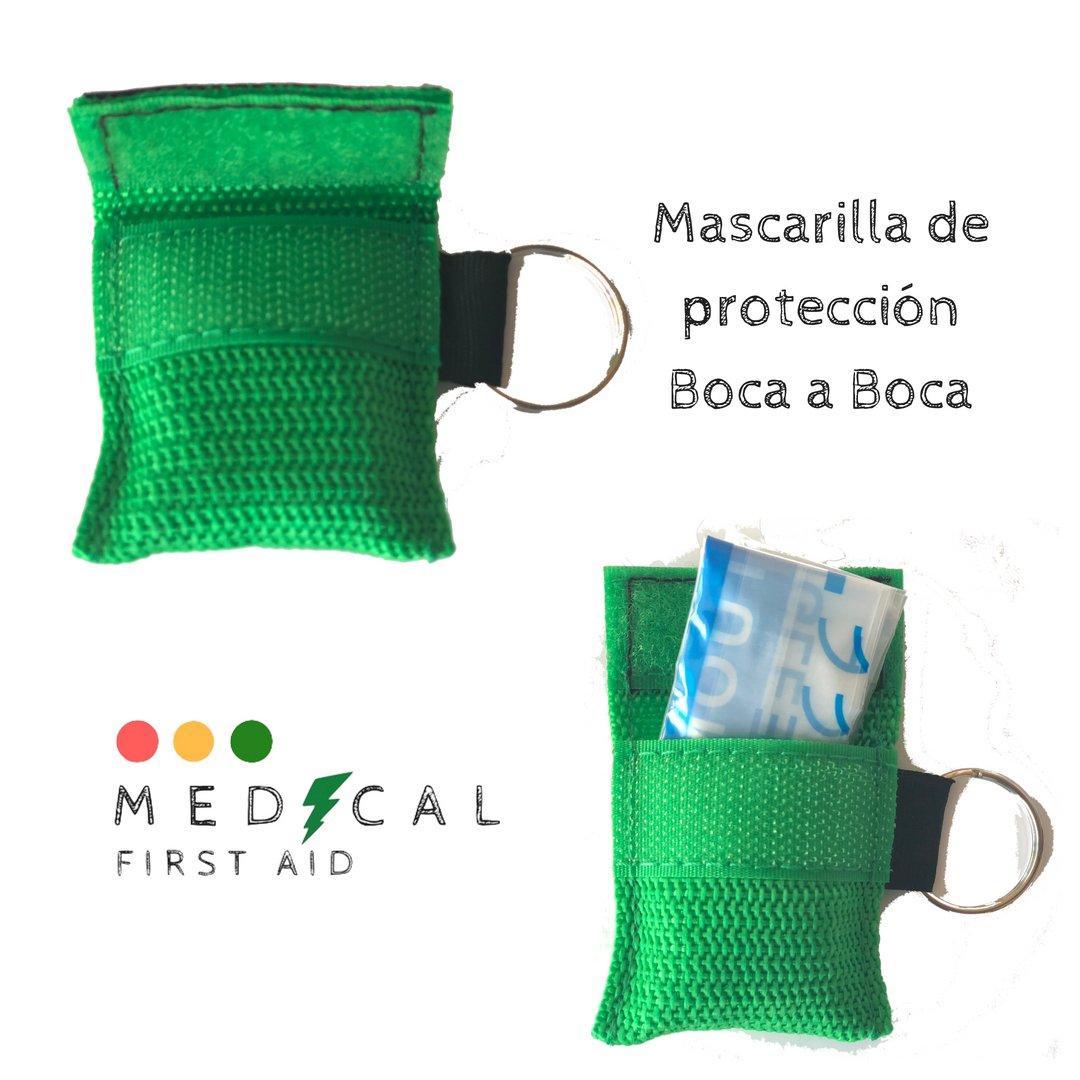 Pack de 10 Mascarillas Multicolor RCP, CPR mask, Llavero emergencia, boca a boca