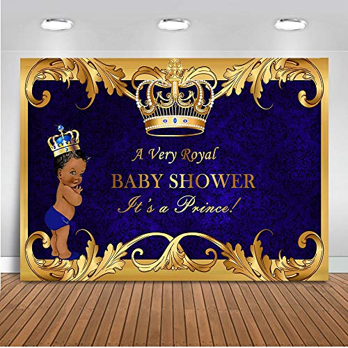 Mehofoto Royal Prince Baby Shower Backdrop Black Boy Gold Crown Photography Background 7x5ft Vinyl Little Prince Royal Blue Backdrops for Baby Shower -