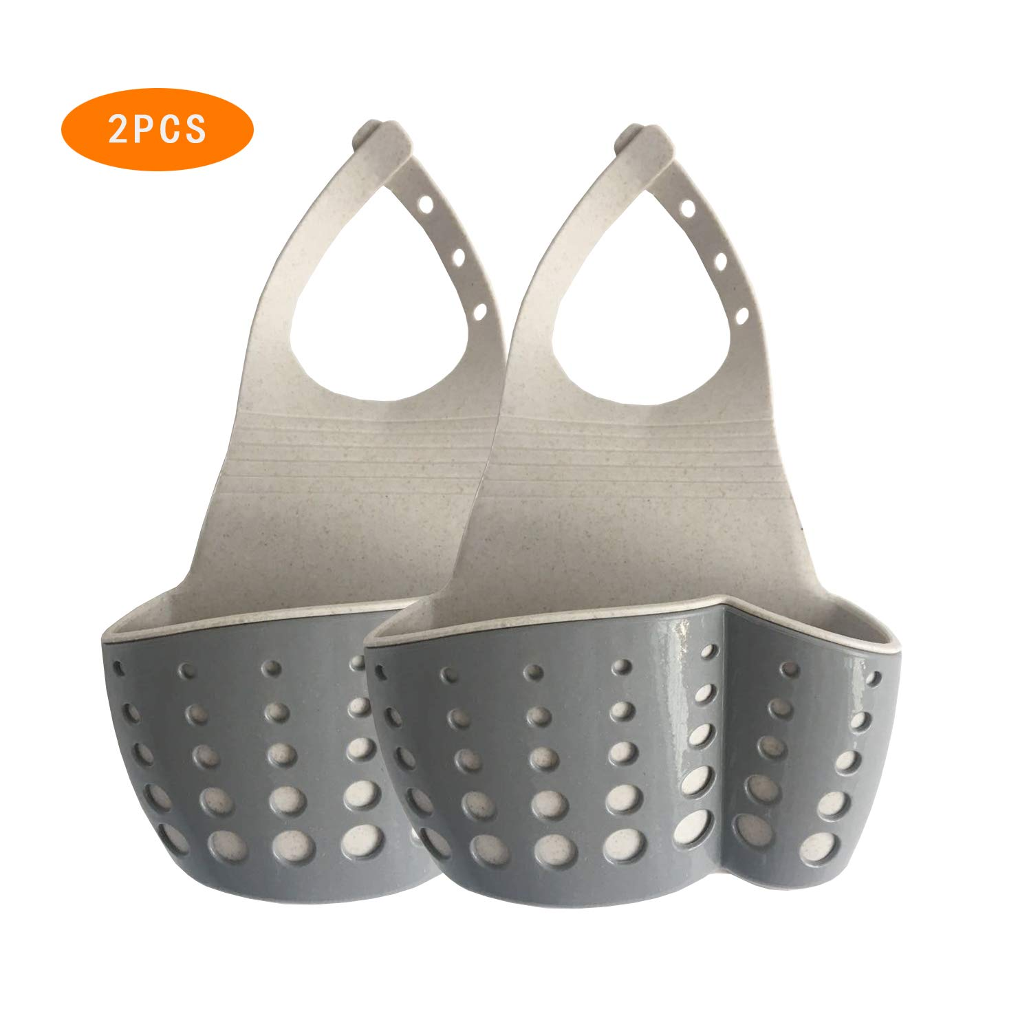 Set of 2,Grey,TuuTyss Wheat Straw Hanging Ajustable Strap Sink Caddy,Kitchen Bathroom Sponge Soap Holder