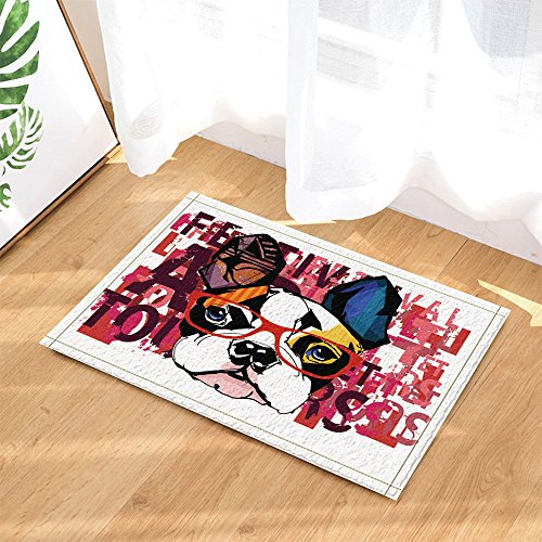 NYMB Portrait of French Bulldog Wearing Sunglasses Decor Bath Rugs, Non-Slip Doormat Floor Entryways Indoor Front Door Mat, Kids Bath Mat, 15.7x23.6in, Bathroom - French Sunglasses Bulldog