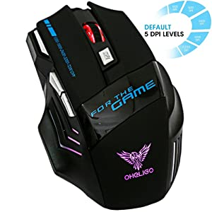 Oheligo 7200 DPI Gaming Mouse for Laptop and PC With 7 Colors 7 Buttons LED Optical USB Wired Mice.