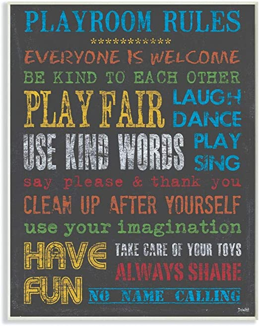 11 x 0.5 x 15 The Kids Room by Stupell Rainbow Chalkboard Playroom Rules Rectangle Wall Plaque Proudly Made in USA