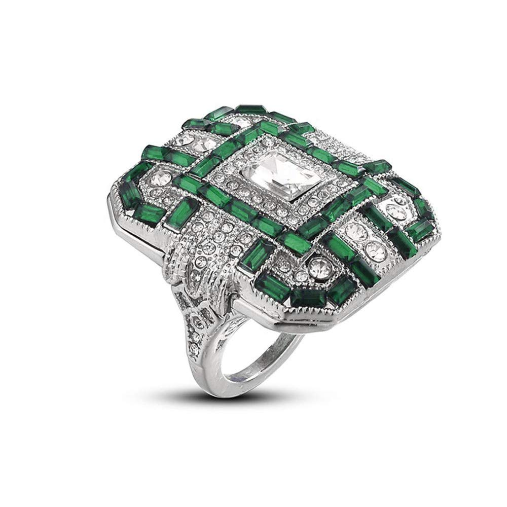 Engaged Rings White Gold Diamond,Fashion Women Crystal Green Silver Cubic Zirconia Band Ring Jewelry Gift,Green,10#