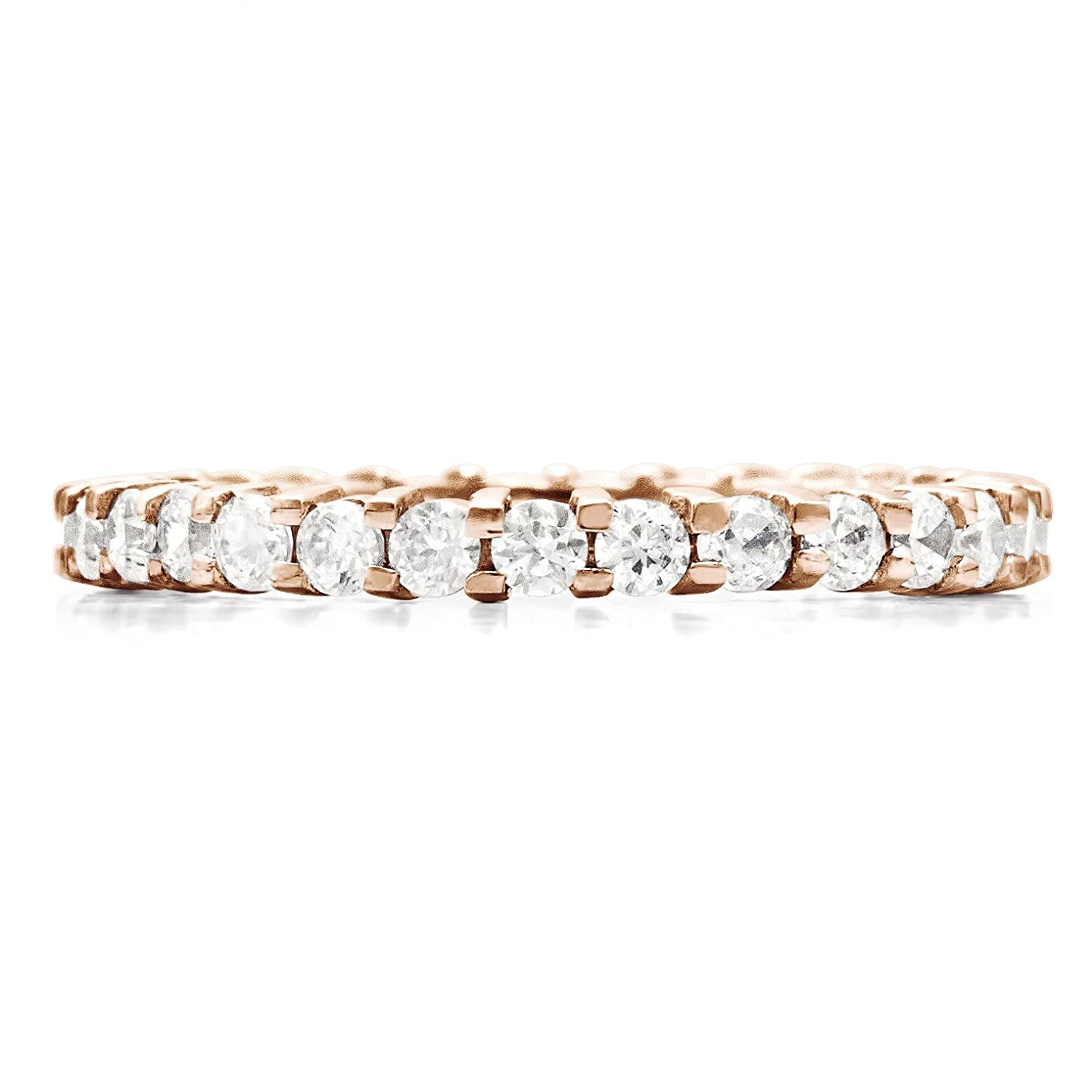 TwoBirch Stackable 1.7 mm White Cubic Zirconia Set in Sterling Silver Double Shared Prong Eternity Ring
