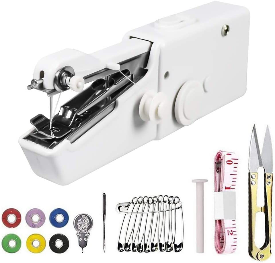 Handheldewing Machine, Hand Cordless Sewing Tool Mini Portable Sewing Machine, Essentials for Home Quick Repairing and Stitch Handicrafts (White)