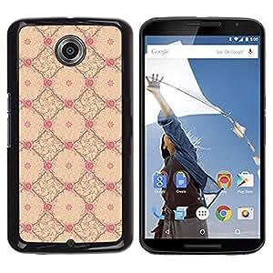 Smartphone duro PC caso Carcasa protectora para NEXUS 6/X/Moto X Pro/Phone Case TECELL Store/Vintage Floral Wallpaper Yellow Pink
