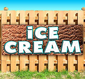 Advertising ICE Cream 13 oz Heavy Duty Vinyl Banner Sign with Metal Grommets Many Sizes Available Flag, New Store