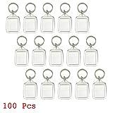 100pcs Custom Personalised Insert Photo Blank Clear Acrylic Keyring Keychain WholeSale 25x35mm