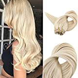 Fshine 14inch Platinum Hair Extensions Clip in Hair Extensions Human Hair 9 Pcs 100g Per Package Color #60 Blonde Hair Extensions Clip in Real Hair Extensions For Sale