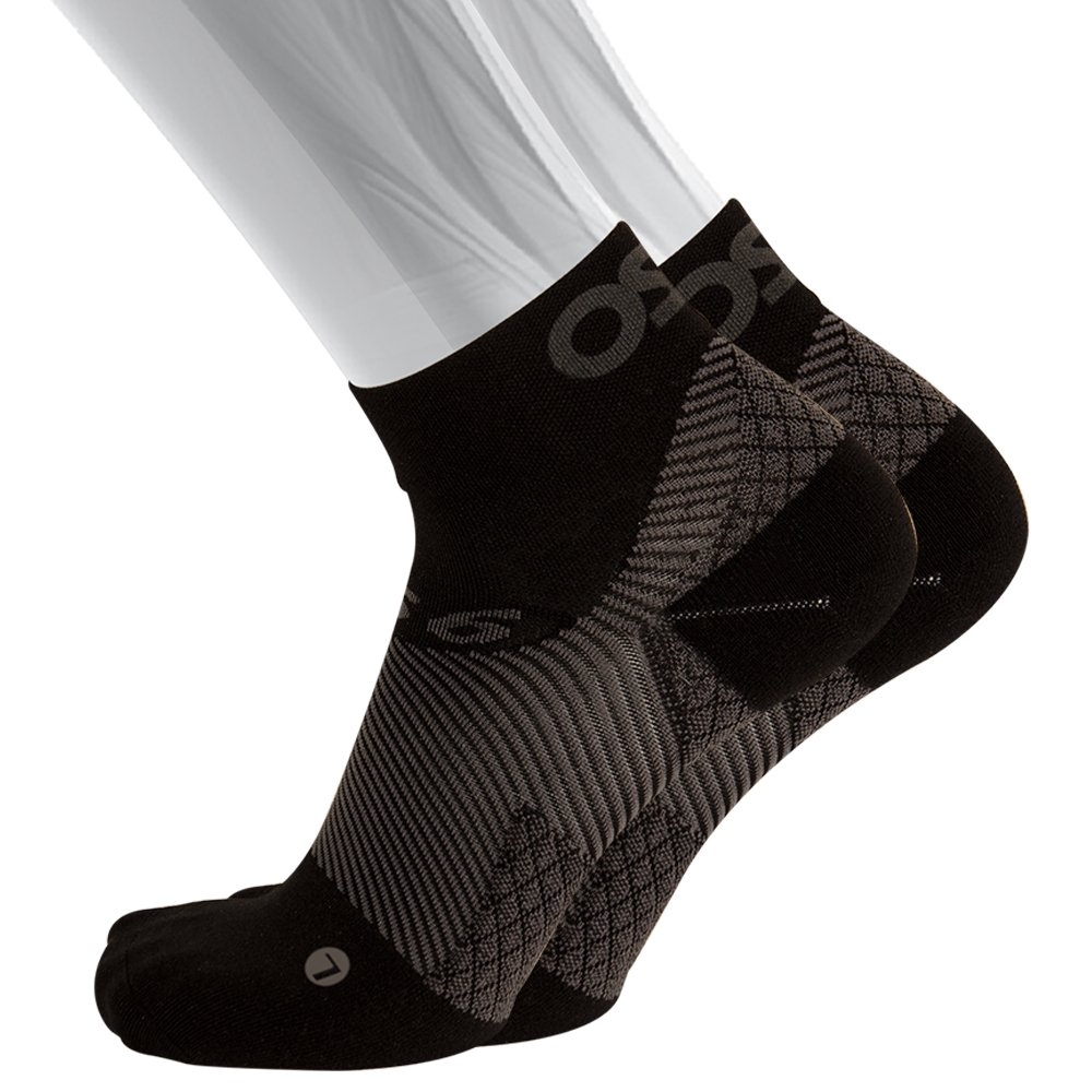 OS1st FS4 Plantar Fasciitis Socks (Pair) for Plantar Fasciitis relief, arch support and foot health featuring patented FS6 technology (Small, Black)