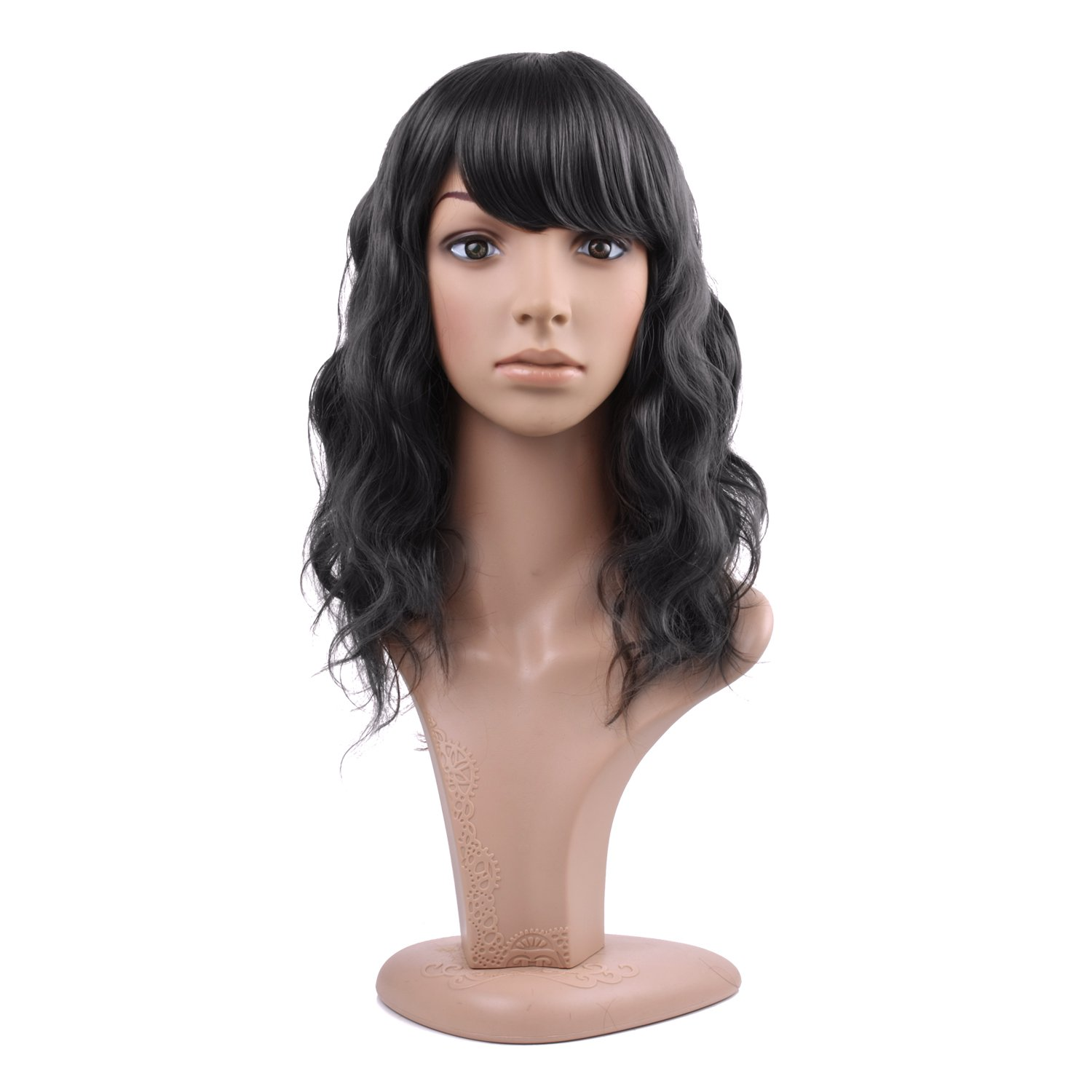 MelodySusie Black Mid-length Curly Wig - Attractive Women Mid-length Layered Curly Wig with Free Wig Cap (Black)