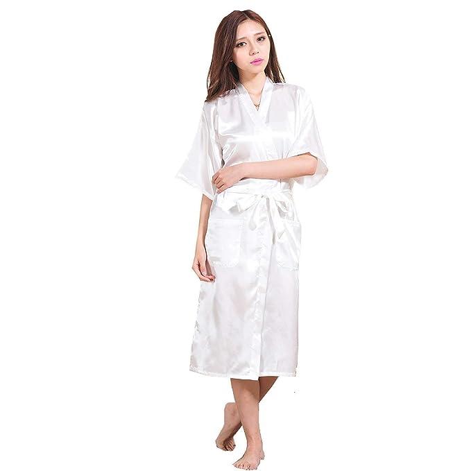 ... Albornoz Elegantes Moda Casual Color Sólido Verano Satín Kimono Mode De Marca Camisones Mangas 3/4 V-Cuello con Bolsillos Cinturón Pijamas Mujer Batas: ...
