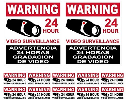 12-Pcs Bright Unique Warning 24 Hour Video Surveillance Stickers Sign Property Protected Camera In Use Fence Signs Hr Decals Window Premises Outdoor Under Cameras Protect 2-Large 10-Small Spanish