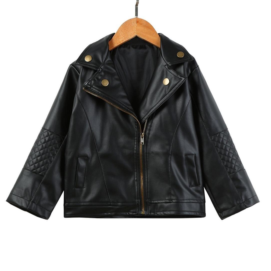 Exteren Autumn Winter Girl Boy Kids Baby Outwear Leather Coat Short Jacket Clothes 12-24 Months