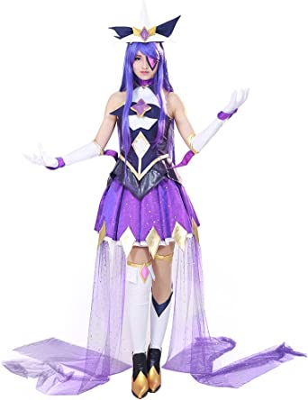 Miccostumes Mujer Star Guardian Syndra Cosplay Vestido De Disfraz Lana De Lama Púrpura Clothing