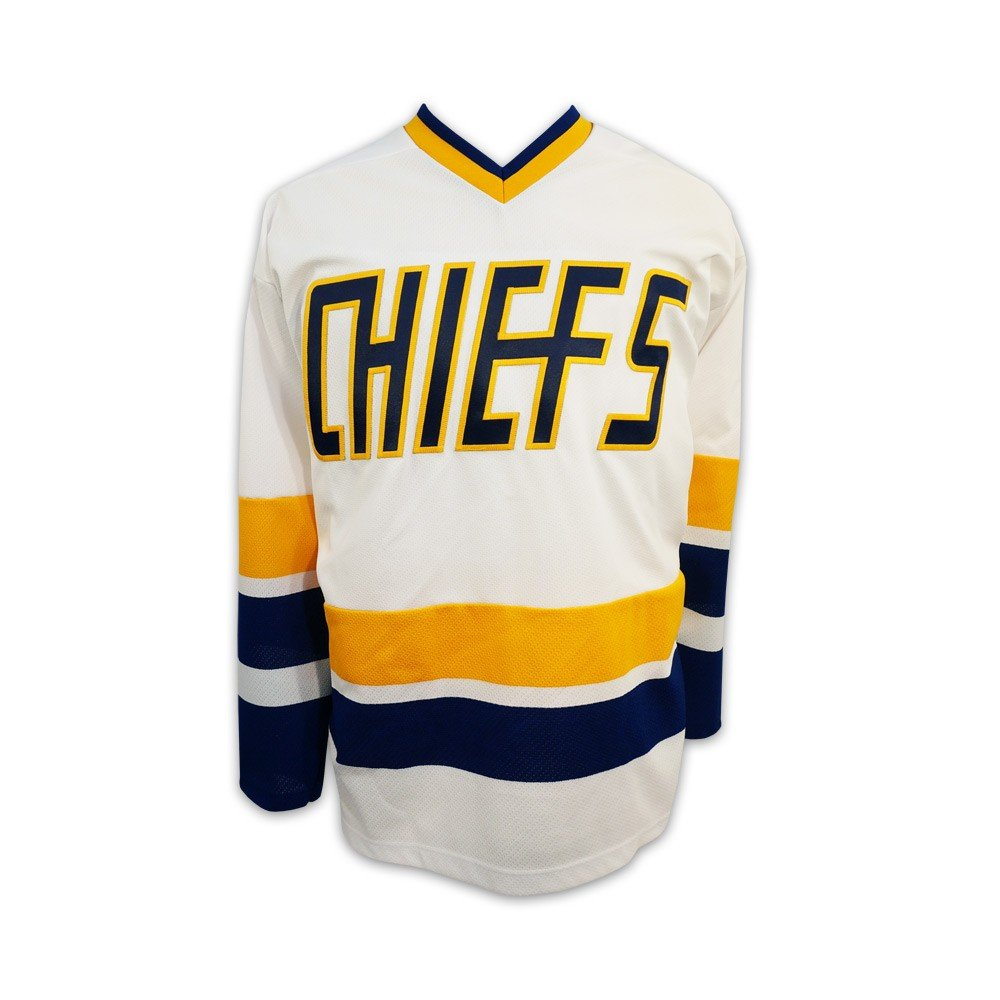 Official Slap Shot Movie Charlestown Chiefs Hockey Jersey - Home White. Mad Brothers