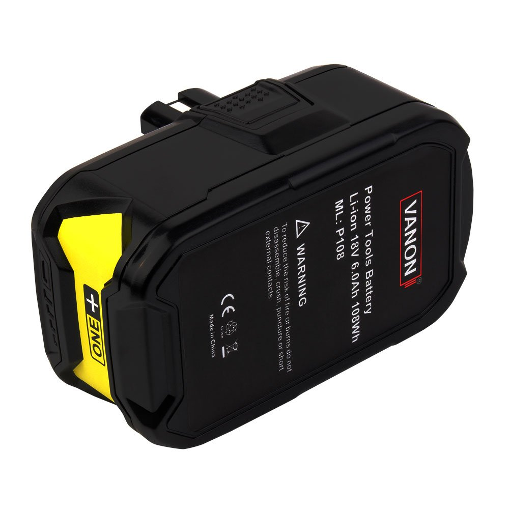18V 6.0ah Lithium Ion Battery for Ryobi ONE+ P104 P105 P102 P103 P107 P108 P507 BPL-1815 BPL-1820G BPL18151 BPL1820 Cordless Power Tools (2-Pack) by VANON (Image #3)