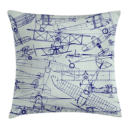 Ambesonne Airplane Throw Pillow Cushion Cover, Old Airplane Drawings Classic Dated Flight Vintage Style Nostalgic Jets, Decorative Square Accent Pillow Case, 28