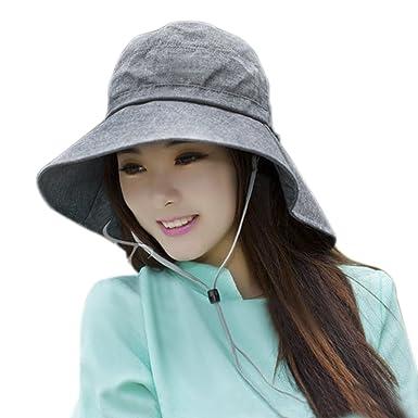 af901f5386472 Chapeau de Soleil Femmes Dames Capeline Anti-UV Casquette Visière  Protection Solaire Ajustable Corde Large