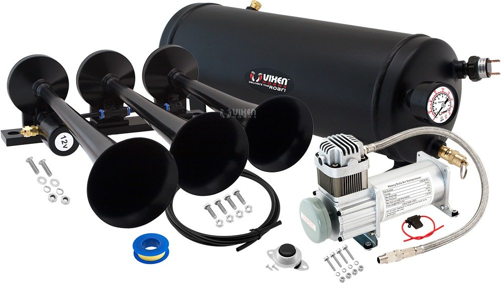 Vixen Horns Loud 149dB 3/Triple Black Trumpet Train Air Horn with 1.5 Gallon Tank and 150 PSI Compressor Full/Complete Onboard System/Kit VXO8115/3118B 4332980228