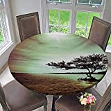 Mikihome Chateau Easy-Care Cloth Tablecloth Lonely Tree Scene College List One of a Kind Machine Washable Silky Satin for Home, Party, Wedding 43.5''-47.5'' Round (Elastic Edge)