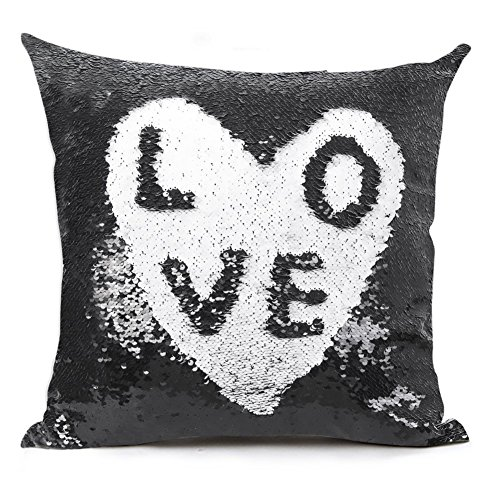 "Reversible Sequin Pillow Case Decorative Mermaid Pillow Cover Color Changing Cushion Throw Pillowcase 16"" x 16"" ,Black and White"