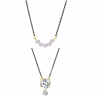 Archi collection jewellery combo of gold rhodium plated american archi collection jewellery combo of gold rhodium plated american diamond mangalsutra pendant with chain for aloadofball Images