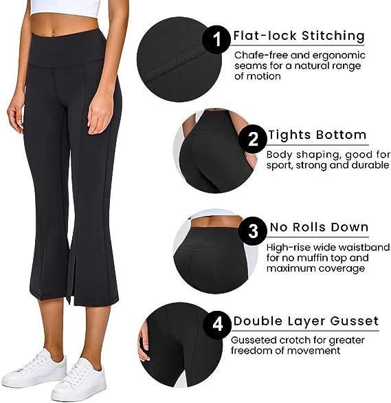 Tesuwel Womens High Waist Yoga Pants Leggings Ruffle Flare Stretchy Running Workout Capri Pants