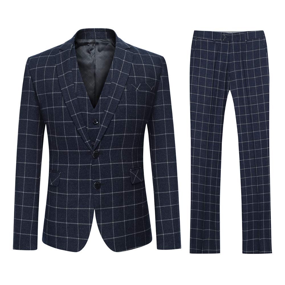 Mens Check Suit Classic Slim Fit 3 Piece Suits Tailored Fit Business Casual Blazer Waistcoat /& Trousers