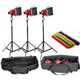 Pro Photo Video Studio Continuous Red Head Light 800w Video Lighting with DIMMER built in UK or EU plug-Earthed padded bag (3 SETS)
