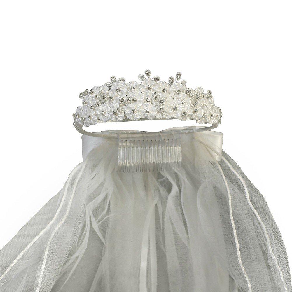 Lito Girls White Satin Flowers Rhinestones Headpiece 24'' Communion Veil