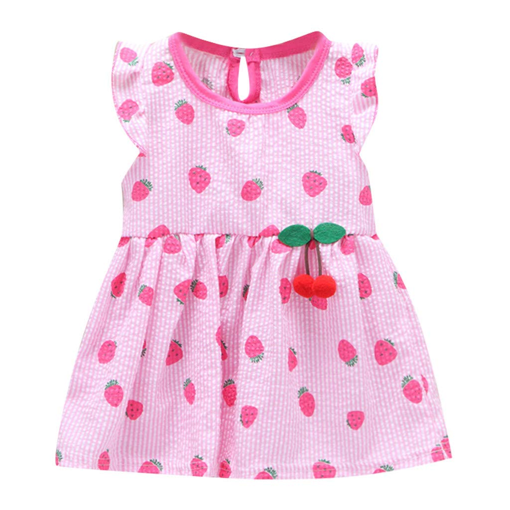 Hstore❀Toddler Baby Kids Girls Fly Sleeve Fruit Print Princess Dresses Casual Clothes